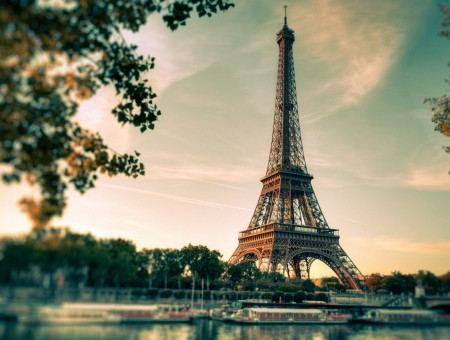 Eiffel Tower Beside Green Trees During Sunset