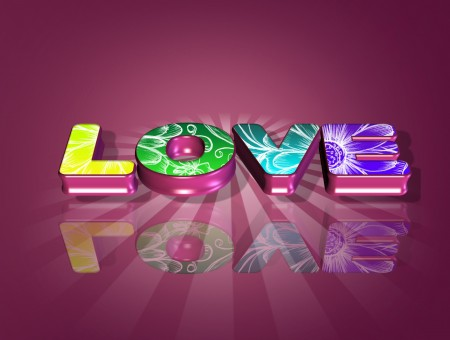 Purple Green And Yellow Love Text