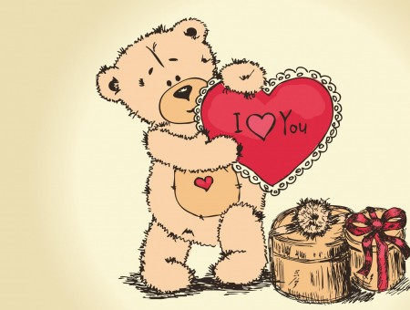 Illustration Of Bear Holding I Love You Heart Over Boxes