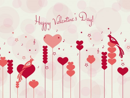 Happy Valentine's Day Text With Pink And Red Hearts Background