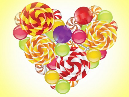 Red Purple Yellow And Green Heart Illustration