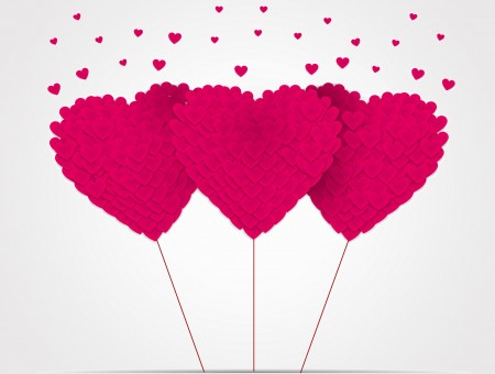 3 Pink Hearts Balloon