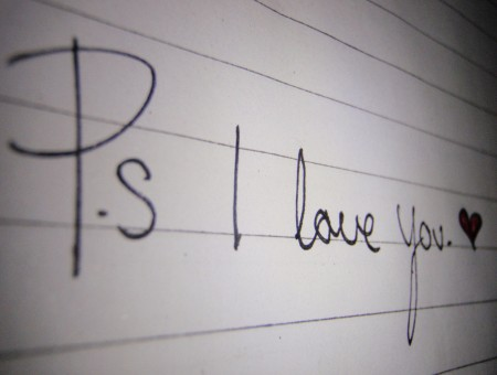 P.s I Love You On White Line Paper