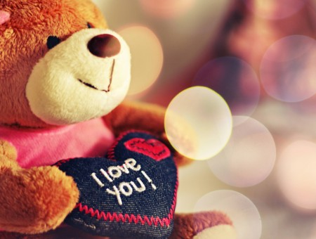 Brown Teddy Bear With Black Heart And I Love You Text