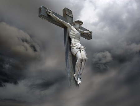 Jesus On Cross Under Clouds