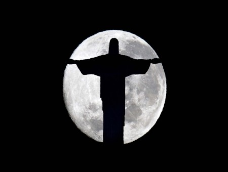 Full Moon Over The Christ The Redeemer Statue