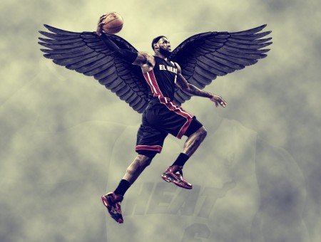 Lebron James With Black Wings Flying While Holding A Basketball