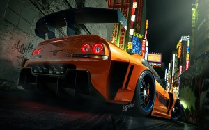 Desktop Wallpaper: Orange Sports Car Pa...