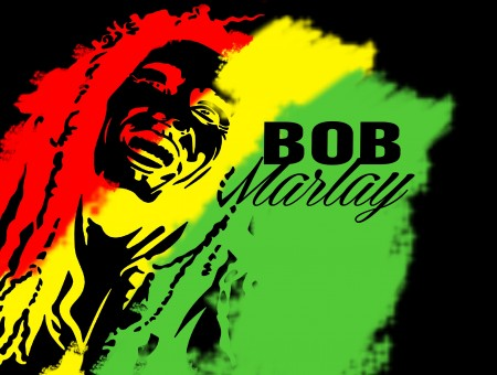 Red Yellow And Green Illustration Of Bob Marley
