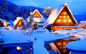 Desktop Wallpaper: Snow Cover Houses On...