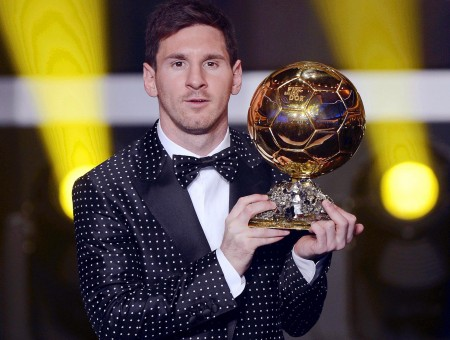 Lionel Messi Holding Gold Trophy Cup