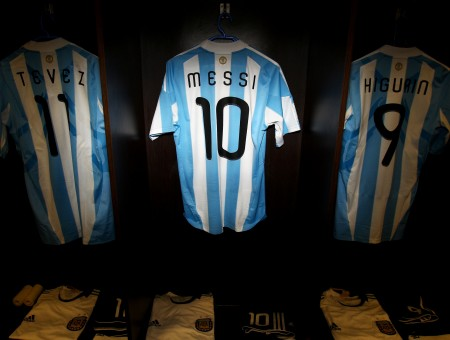 Blue And White Stripe Messi Jersey