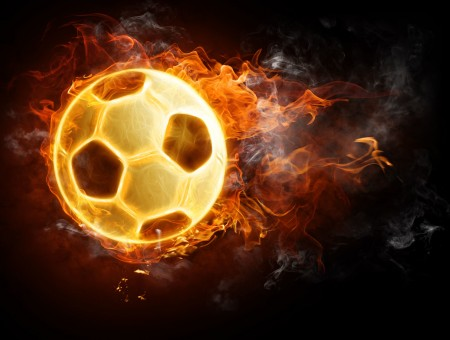 Flaming Soccer Ball On Black