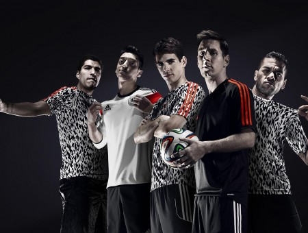 Soccer Players In Adidas T Shirts Standing For Photo Ops