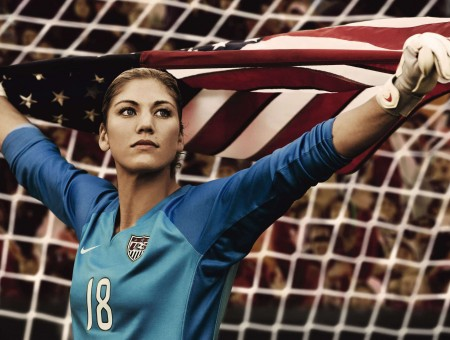 Woman In Blue 18 Nike Soccer Jersey Holding United States Of America Flag