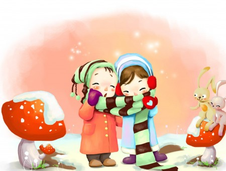 Two Women Cartoon Character Sharing Green And Black Striped Scarf