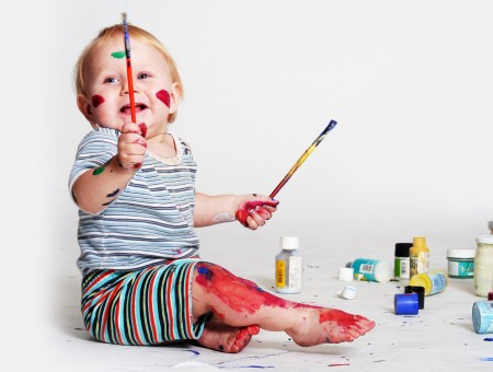 Baby With Paint Brush