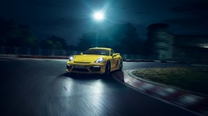 Desktop Wallpaper: Yellow Porsche Cayma...