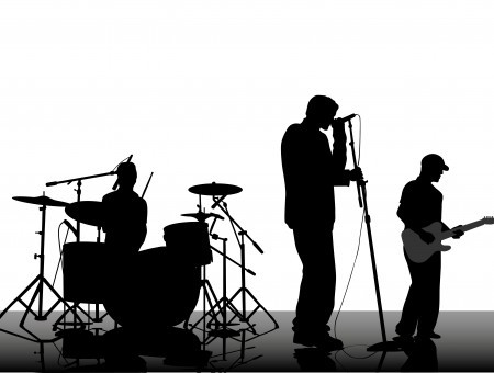 Silhouette Photo Of Of A Music Band With White Background