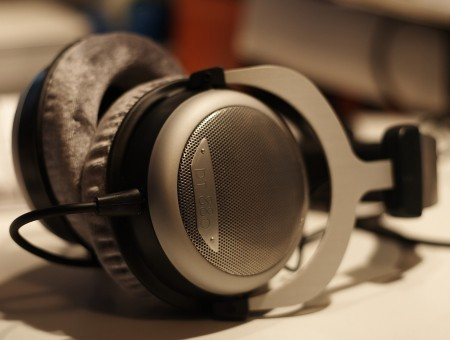 Gray Black Corded Headphones