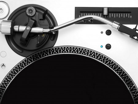 Silver And Black Turntable