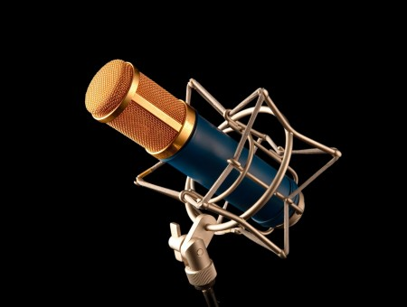 Brass And Blue Microphone