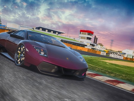 Purple Lamorghini On A Track