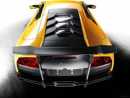 Yellow And Gray Lamborghini Rear View