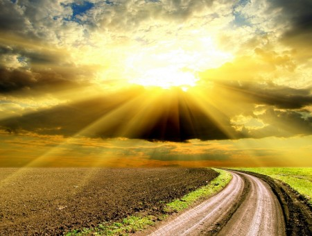 Sunlight Raise Above Brown Soil And Road