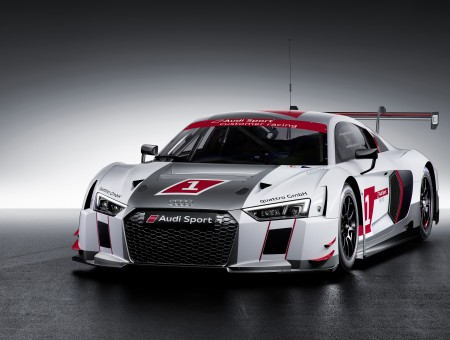 White Gray And Red Audi R8 Race Car