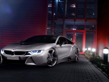 Silver Bmw I8 Parked During Night Time Wallpapers Every Day
