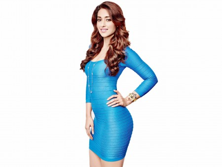 Smiling Woman In Blue Scoop Neck Long Sleeved Bodycon Dress