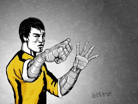 Man In Yellow Shirt Illustration With Fist