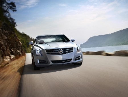 Silver Cadillac ATS On Road