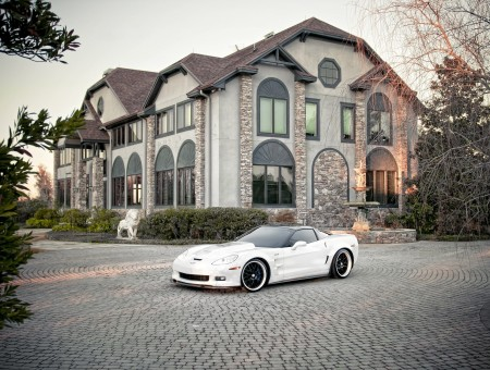 White Corvette Stingray In Cobblestone Pavement