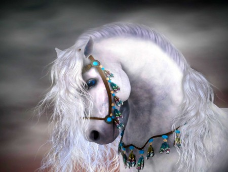 White Horse In Teal Beaded Accessory