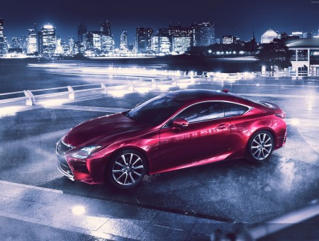 Red Lexus RCF On Park During Night