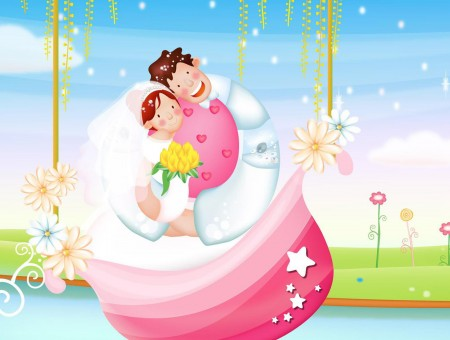 Man And Girl Sitting On White And Pink Rock Cartoon Illustration