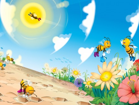 Yellow Bees Cartoon Characters Getting Polens On Flowers