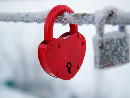 Red Heart Padlock In Shall