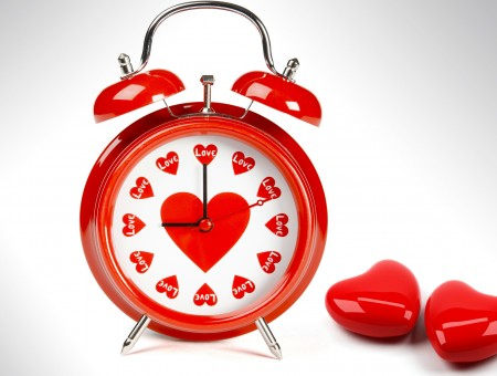 Red With Heart Design Alarm Clock