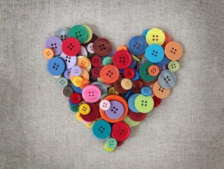 Red Blue Green Multicolored Buttons Heart Ornament