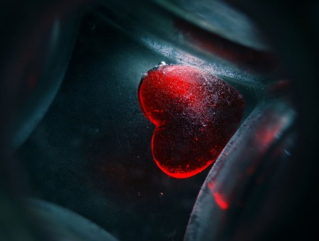 Red Heart Stone In Close Up Photography