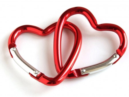 Red And Silver Heart Carabiners