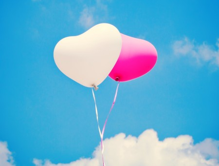 White And Pink Hearts Rubber Balloons During Daytime