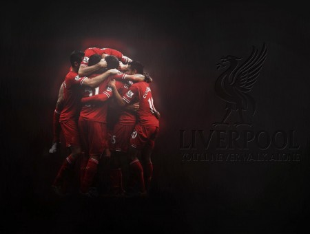Liverpool Poster With Players Wearing Red Jerseys