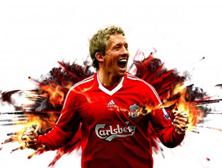 Man In Red Soccery Jersey Running From Explosion With Hands On Fire