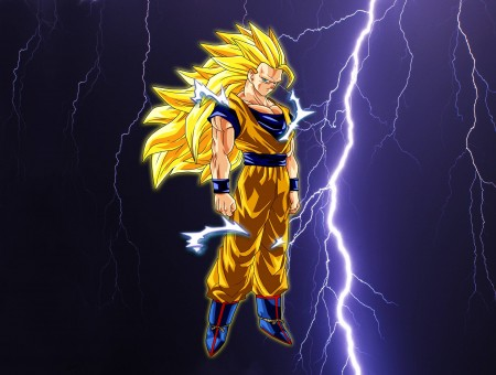 Goku In Super Saiyan 3 Next To A Lightning Bolt