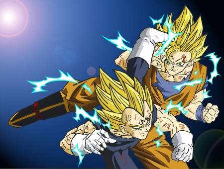 Goku And Vegeta In Super Saiyan 2 Fighting Under A Sun