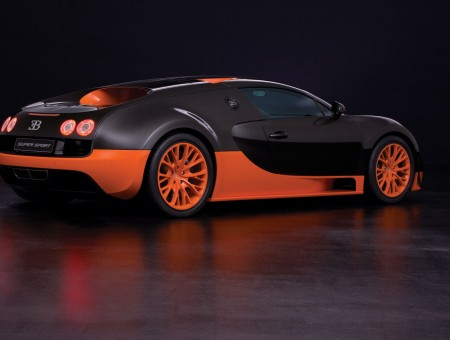 Black Bugatti Veyron In A Dark Room